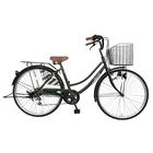 次回入荷未定 自転車 ママチャリ 軽快車 26インチ 6段ギア サントラスト 自転車 ダークグリーン 緑 かわいいママチャリ おしゃれ シティサイクル 安い 通学 dixhuit ディズウィット