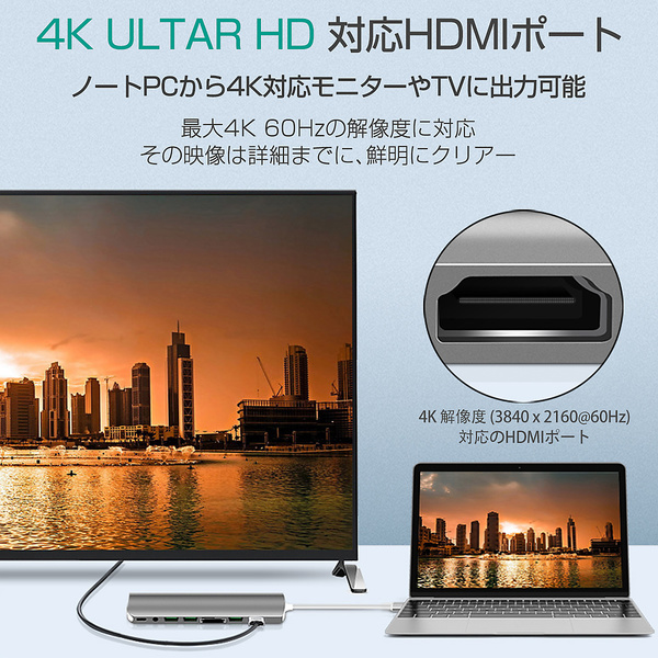 USB Type-C ハブ 9in1 USB3.0x2 4K HDMI 1Gbps有線LAN PD充電 microSD SDスロット 拡張 変換 スペースグレイ 軽量 Galaxy MacBook ChromeBook VAIO Mac Windows対応 SDM便送料無料 3ヶ月保証