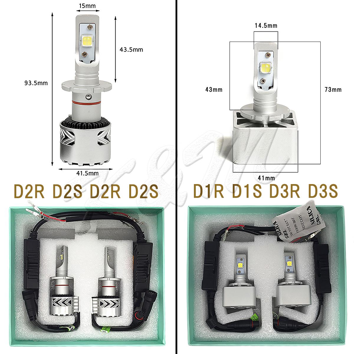 LEDヘッドライト LED D2C D2R D2S D4C D4R D4S D1C D1R D1S D3C D3R D3S CREE 6500K(車検対応) 2個入り 6000LM ヘッドライト フォグランプ 12V 24V 輸入車対応 宅配便送料無料 1年保証 K&M