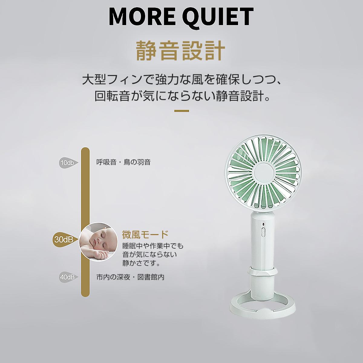 携帯扇風機 ハンディファン 白 USB扇風機 手持ち ミニ アロマ 軽量 静音 風量3段階 大風量 5枚羽根 熱中症対策 携帯 宅配便送料無料 1ヶ月保証 K&M