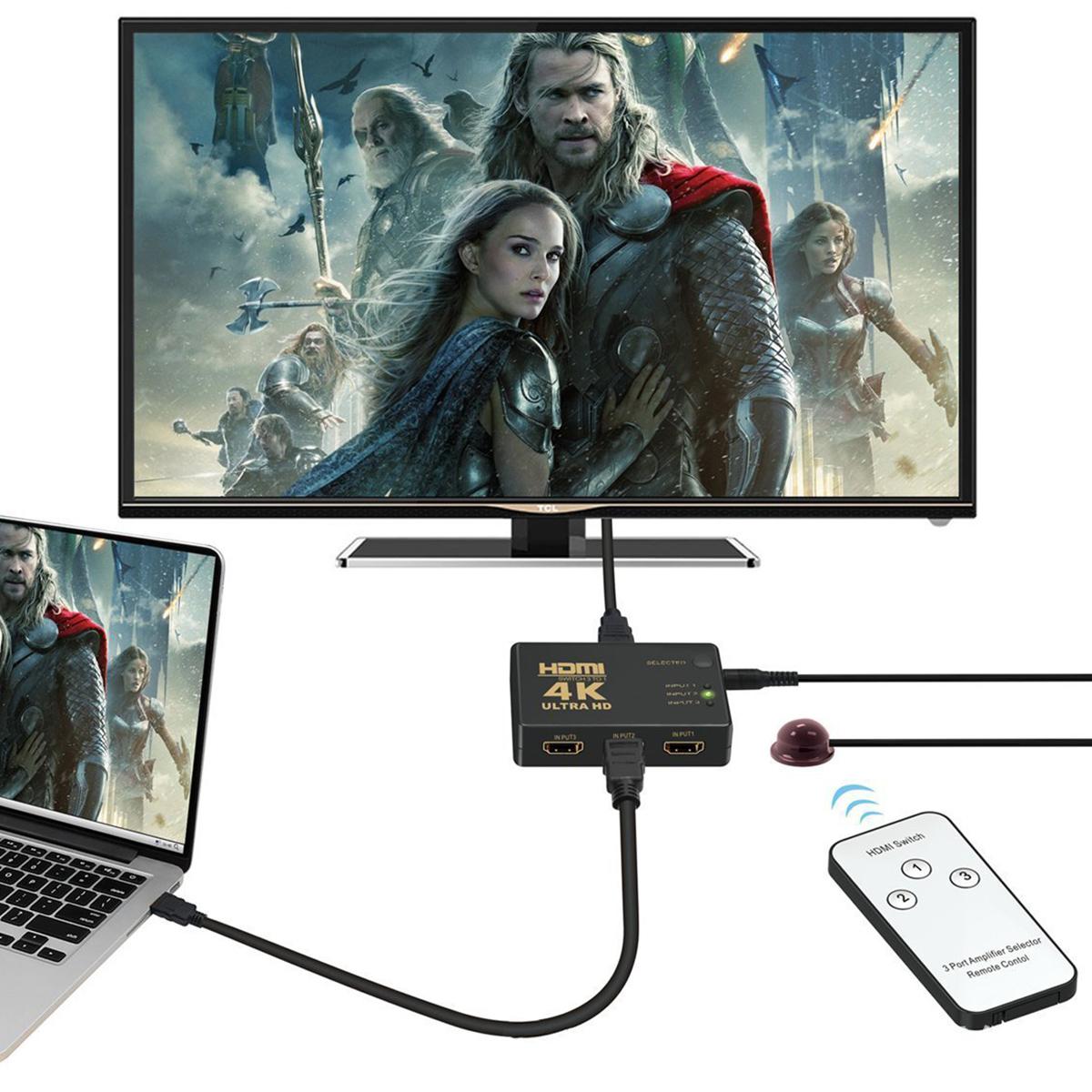 HDMI切替器 3入力1出力 HDMI セレクター 4K 2K FHD対応 自動切り替え 3D映像対応 USB給電