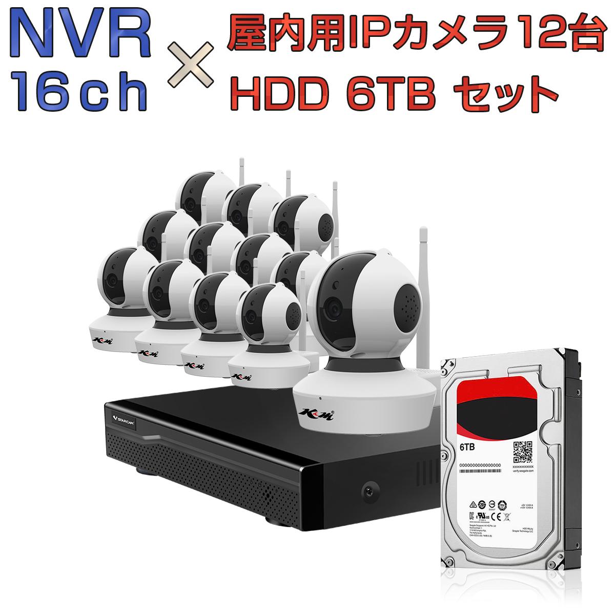 NVR ネットワークビデオレコーダー 16ch HDD6TB内蔵 C23S 2K 1080P 200万画素カメラ 12台セット IP ONVIF形式 スマホ対応 遠隔監視 1080P FHD 動体検知 同時出力 録音対応 H.265+ IPカメラレコーダー監視システム 宅配便送料無料 1年保証 K&M