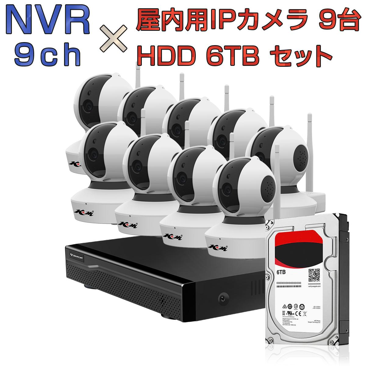 NVR ネットワークビデオレコーダー 9ch HDD6TB内蔵 C23S 2K 1080P 200万画素カメラ 9台セット IP ONVIF形式 スマホ対応 遠隔監視 1080P FHD 動体検知 同時出力 録音対応 H.265+ IPカメラレコーダー監視システム 宅配便送料無料 1年保証