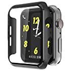 Apple Watch Series 6 / SE/Series 5 / Series 4 40mm PC ブラック ケース Apple Watch 超薄型フィルム 3D全面保護 ガラスカバー (ブラック)