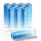 REACELL 充電池 充電式ニッケル水素電池 単4形8本セット 1100mAh約1200回使用可能 電池保管ケース2個