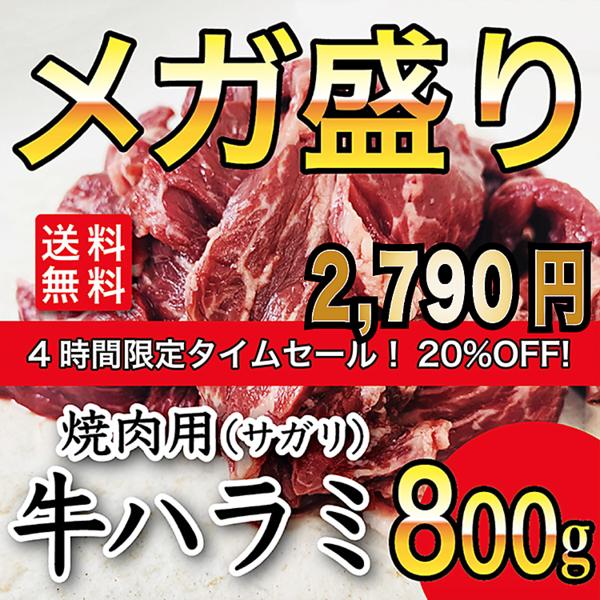 送料無料 焼肉用牛ハラミ(サガリ)800g