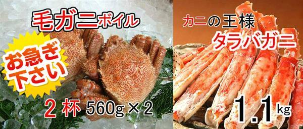【ふるさと納税】kan160 贅沢なカニの食べ比べPart2!毛ガニ560g×2杯&タラバガニ脚ボイル1.1kg 寄付額20,000円