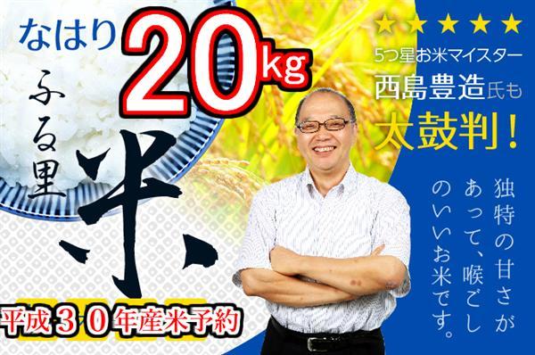 【ふるさと納税】kome032 (平成30年産米)お米五つ星マイスター推奨♪なはり米20kg 寄付額10,000円