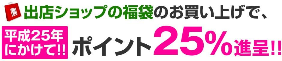 出店ショップの福袋のお買い上げで、平成25年にかけて!ポイント25%!!