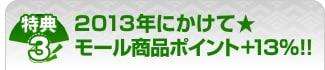 特典3:2013年にかけて★モール商品ポイント+13%!!