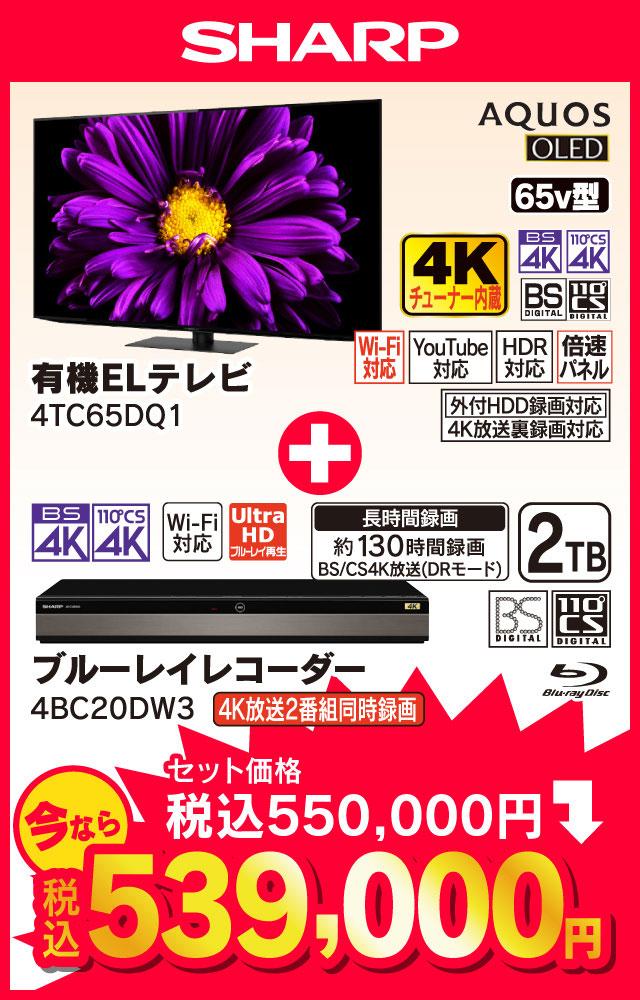 SHARP AQUOS 65v型 4Kチューナー内蔵有機ELテレビ 4TC65DQ1、ブルーレイレコーダー 4BC20DW3
