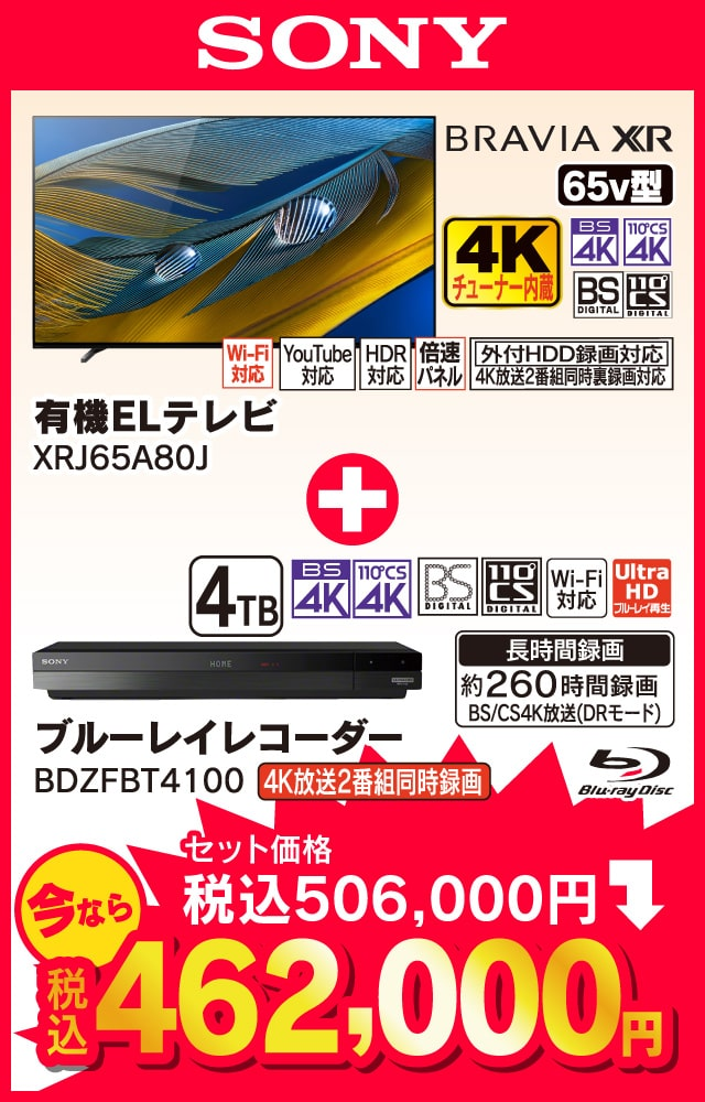 SONY BRAVIA 65v型 4Kチューナー内蔵有機ELテレビ XRJ65A80J、ブルーレイレコーダー BDZFBT4100