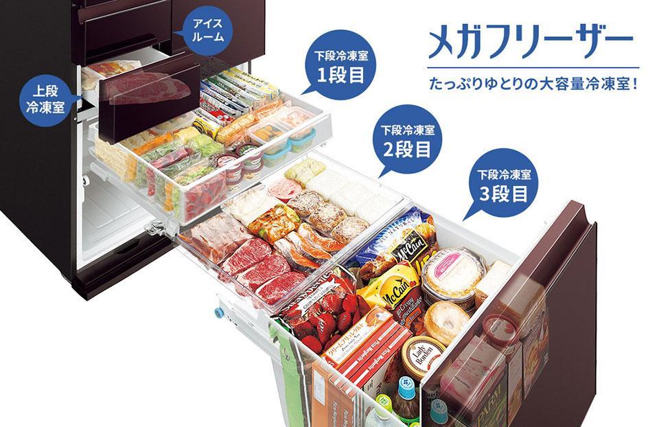 大容量冷凍室「メガフリーザー」