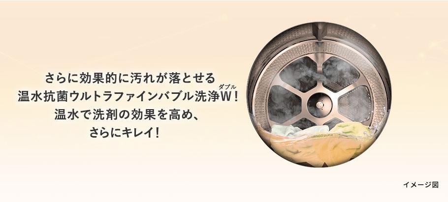 さらに効果的に汚れが落とせる温水抗菌ウルトラファインバブル洗浄W!