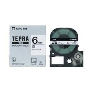 キングジム テプラ 白ラベルテープ (白テープ/黒文字/6mm幅) SS6K