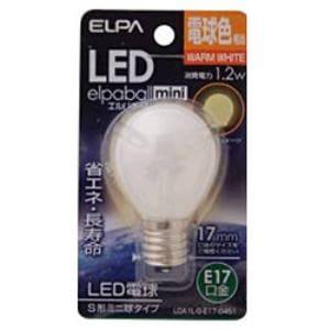 ELPA LDA1L-G-E17-G451 LED電球 「S形ミニ球形」(電球色・口金E17)