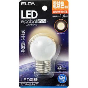 ELPA LDG1L-G-G251 LED電球 「エルパボールミニ」(ミニボール形・電球色相当・口金E26)