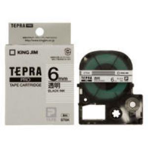 キングジム テプラ 透明ラベルテープ (透明テープ/黒文字/6mm幅) ST6K