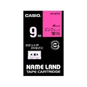 カシオ カシオ ネームランド 蛍光色テープ 9MM幅(蛍光ピンクテープ/黒文字) XR-9FPK