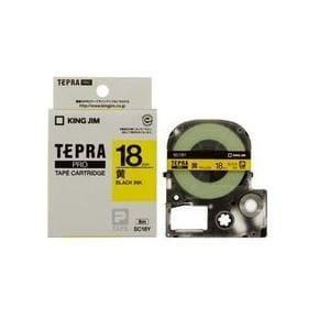 キングジム テプラ カラーラベルテープ(黄テープ/黒文字/18mm幅) SC18Y