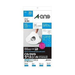 エーワン CD/DVDラベルシール[インクジェット] 強粘着タイプ A4判変型 2面 内径・大 10シート(20枚) 29121