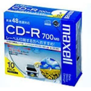 maxell データ用 CD-R 700MB ひろびろ美白レーベル 10枚パック CDR700S.WP.S1P10S