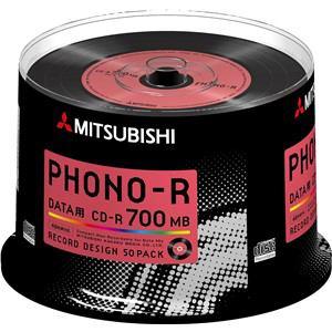三菱ケミカルメディア SR80PH50D5 Phono-Rシリーズ CD-R(Data) 700MB 50枚スピンドルケース50P レッド
