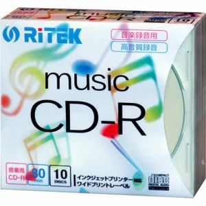 RiTEK 音楽録音用CD-R 5mmスリムケース10枚入 CD-RMU80.10P C