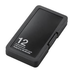 エレコム CMC-SDCPP12BK SD/microSDカードケース プラスチックタイプ ( SD:6枚 / microSD:6枚収納可能 ) ブラック