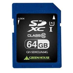 グリーンハウス SDXCメモリーカード UHS-I クラス10 64GB GH-SDXCUA64G