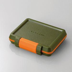 エレコム CMC-SDCHD01GN SD/microSDカードケース(耐衝撃) カーキ