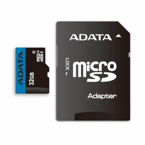ADATA AUSDH32GUICL10RA1D MicroSDHC/XC UHS-I CLASS10 with ADAPTER カード ADATA Premier マイクロSDメモリーカード 32GB Class10 UHS-I