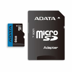 ADATA AUSDX64GUICL10RA1D MicroSDHC/XC UHS-I CLASS10 with ADAPTER カード ADATA Premier マイクロSDメモリーカード 64GB Class10 UHS-I