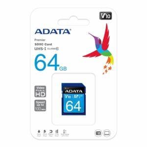 ADATA ASDX64GUICL10RL SDXC UHS-I Class10 V10 ADATA Premier SDメモリーカード 64GB Class10 UHS-I V10