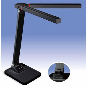 オーム電機 DS-LD65A-W LED調光式ツインセードデスクライト USBポート付 ブラック