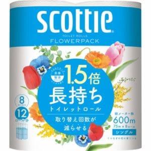 日本製紙クレシア  スコッティ フラワーパックコンパクト 1.5倍巻き 8ロール シングル