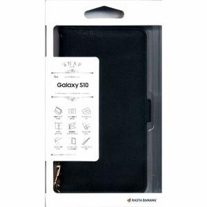ラスタバナナ 4745GS10BO Galaxy S10 手帳型ケース+ハンドストラップ   ブラック