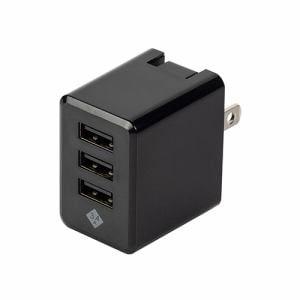 デジオ JYU-ACU02BK スマートフォン タブレット用AC充電器 USB3ポート 3.4A出力 おまかせ同時充電機能付 ブラック
