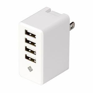 デジオ JYU-ACU03W スマートフォン タブレット用AC充電器 USB4ポート 4.8A出力 おまかせ同時充電機能付 ブラック