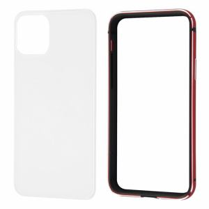 レイ・アウト iPhone 11 Pro (5.8インチ) アルミバンパー+背面パネル(クリア)/レッド RT-P23AB/RM