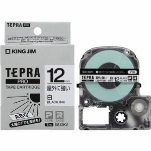 キングジム SS12KV テプラ PROテープ 屋外に強い(白/黒文字・12mm幅x7m)