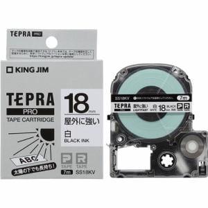 キングジム SS18KV テプラ PROテープ 屋外に強い(白/黒文字・18mm幅x7m)