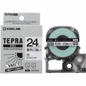 キングジム SS24KV テプラ PROテープ 屋外に強い(白/黒文字・24mm幅x7m)