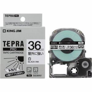 キングジム SS36KV テプラ PROテープ 屋外に強い(白/黒文字・36mm幅x7m)