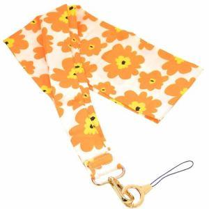 ラスタバナナ RNST01FOR スカーフ風ネックストラップ 花柄 オレンジ