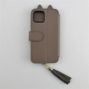 CCCフロンティア iPhone 12 Pro/12用  ケース Tassel Tail Cat Flip Case gray UNI-CSDIP20L-2TTCGY
