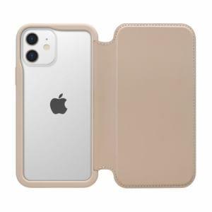 PGA PG-20FGF03BE iPhone12 mini用 ガラスタフフリップカバー Premium Style ベージュ