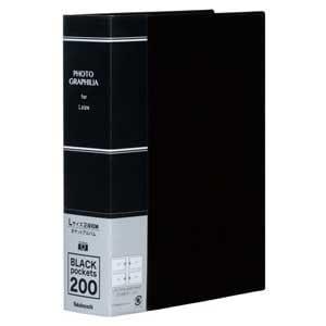 ナカバヤシ L判 2段 200枚収納 ポケットアルバム(ブラック) PHL-1020-D