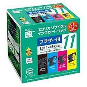 エコリカ ECI-BR114P/BOX ブラザー LC11-4PK(4色セット)対応 リサイクルインクカートリッジ