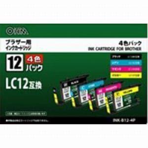 オーム電機 ブラザー互換インクカートリッジ 4色パック INK-B12-4P